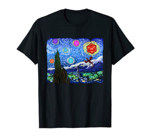 Tabletop Gaming Gift Shirt Starry Night Dragons D20 Dice Tee