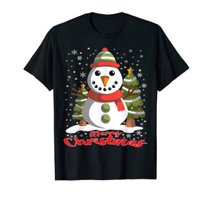 Snowman Merry Christmas Tree Snowflakes Cute Funny T-Shirt