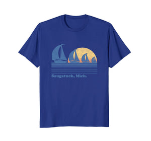 Saugatuck MI Sailboat T-Shirt Vintage 80s Sunset Tee