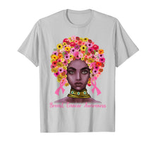 Charger l'image dans la galerie, Pink Ribbon Afro Flowers Hair Black Queen Breast Cancer T-Shirt