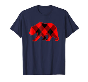 Plaid Shirts For Men Women Kids-Bear Christmas T Shirt