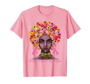 Pink Ribbon Afro Flowers Hair Black Queen Breast Cancer T-Shirt