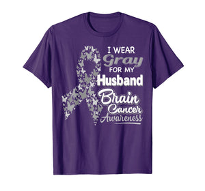Funny shirts V-neck Tank top Hoodie sweatshirt usa uk au ca gifts for I wear Gray for my Husband - Brain Cancer Awareness shirt 258794