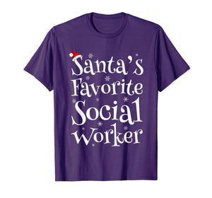 Santa's Favorite Social Worker Santa Claus Hat Christmas T-Shirt
