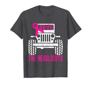 Save The Headlights Ribbon Jeeps Breast Cancer Awareness T-Shirt