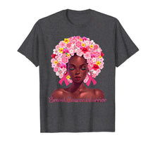 Charger l'image dans la galerie, Pink Flowers Afro Hair Black Woman Breast Cancer Warrior T-Shirt