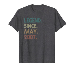 Funny shirts V-neck Tank top Hoodie sweatshirt usa uk au ca gifts for 12th Birthday gift 12 Years Old Legend Since May 2007 1126693
