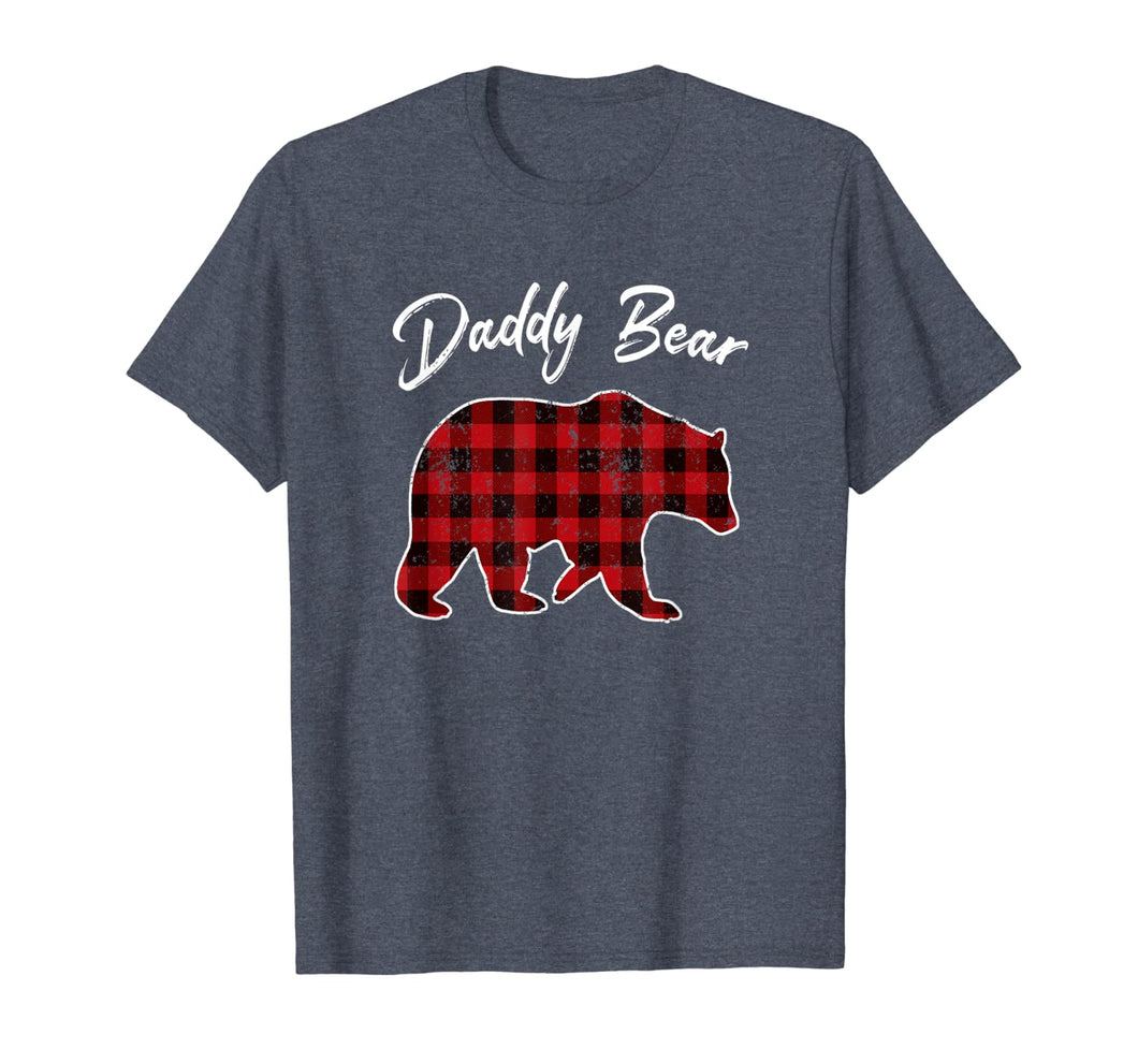Red Plaid Daddy Bear Buffalo Matching Family Pajama T-Shirt