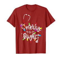 Charger l'image dans la galerie, Nurse Stethoscope Merry and Bright Christmas Lights Gift T-Shirt
