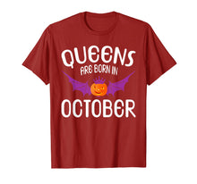 Charger l'image dans la galerie, Queens Are Born In October Halloween Birthdays T-Shirt