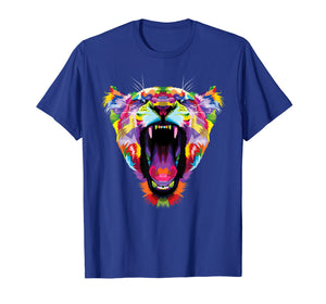 Funny shirts V-neck Tank top Hoodie sweatshirt usa uk au ca gifts for Tiger Shirt : Colorful Angry Tiger Pop Art Style T-Shirt 2590671