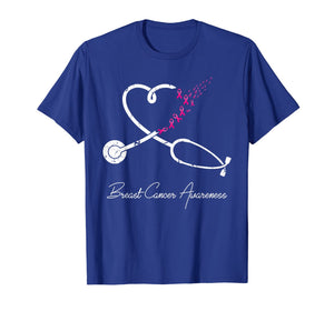 Nurse Breast Cancer Awareness Pink Ribbon Stethoscope Heart T-Shirt