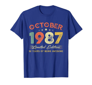 October 1987 32 Years Old Vintage 32nd Birthday Gifts T-Shirt
