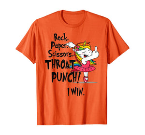 Rock paper scissors throat punch I win Unicorn Dancing T-Shirt