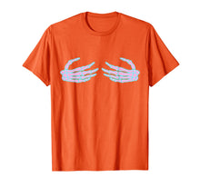 Charger l'image dans la galerie, Skeleton Hands on Boob, Funny Halloween Boobs Womens  T-Shirt