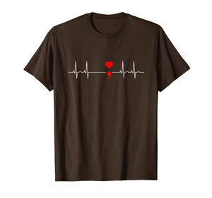 Semicolon Heartbeat Shirt Suicide Depression Prevention