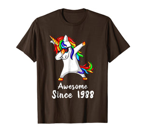 Funny shirts V-neck Tank top Hoodie sweatshirt usa uk au ca gifts for 30 Years Old 30th Birthday Unicorn Dabbing Shirt 1988 Gift 1497197