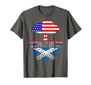 Scottish Roots American Grown Tree Flag USA Scotland T-Shirt