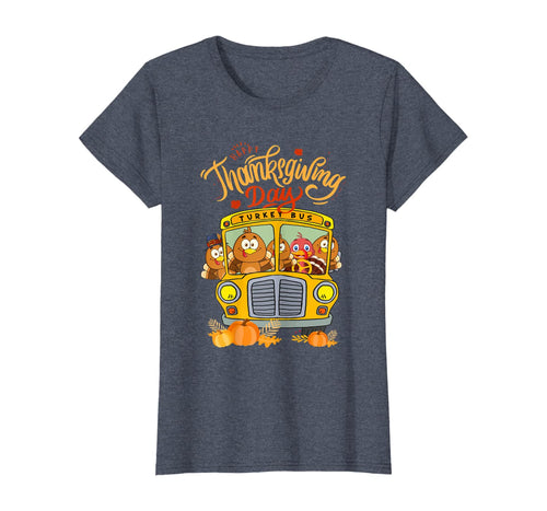 377431 Happy Thanksgiving Day Funny Turkey School Bus Driver Gifts T-Shirt B08JMKC25X
