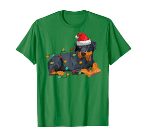 Rotwiller Christmas pajama Santa Hat Lights Gift Dog Lover T-Shirt
