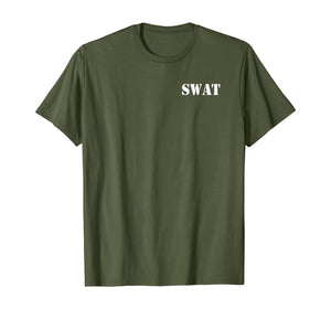 SWAT Team Police Front Back Print SWAT Team T-Shirt