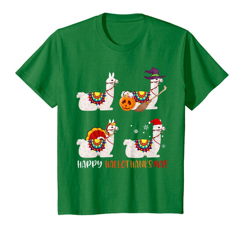 405360 Happy Hallothanksmas Cute Witch Turkey Santa Llama Gifts T-Shirt B08JDXG4N2