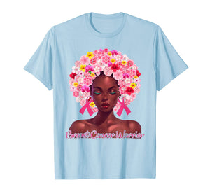 Pink Flowers Afro Hair Black Woman Breast Cancer Warrior T-Shirt