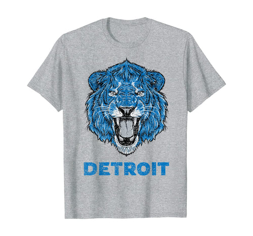 346456 Funny Vintage Lion Face Head Detroit Football Gifts T-Shirt B08K97MDJL