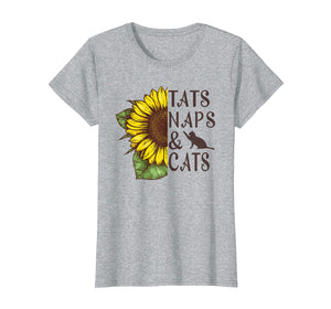 Funny shirts V-neck Tank top Hoodie sweatshirt usa uk au ca gifts for Sunflower Tats naps and cats Funny Graphic T-shirt 2691412