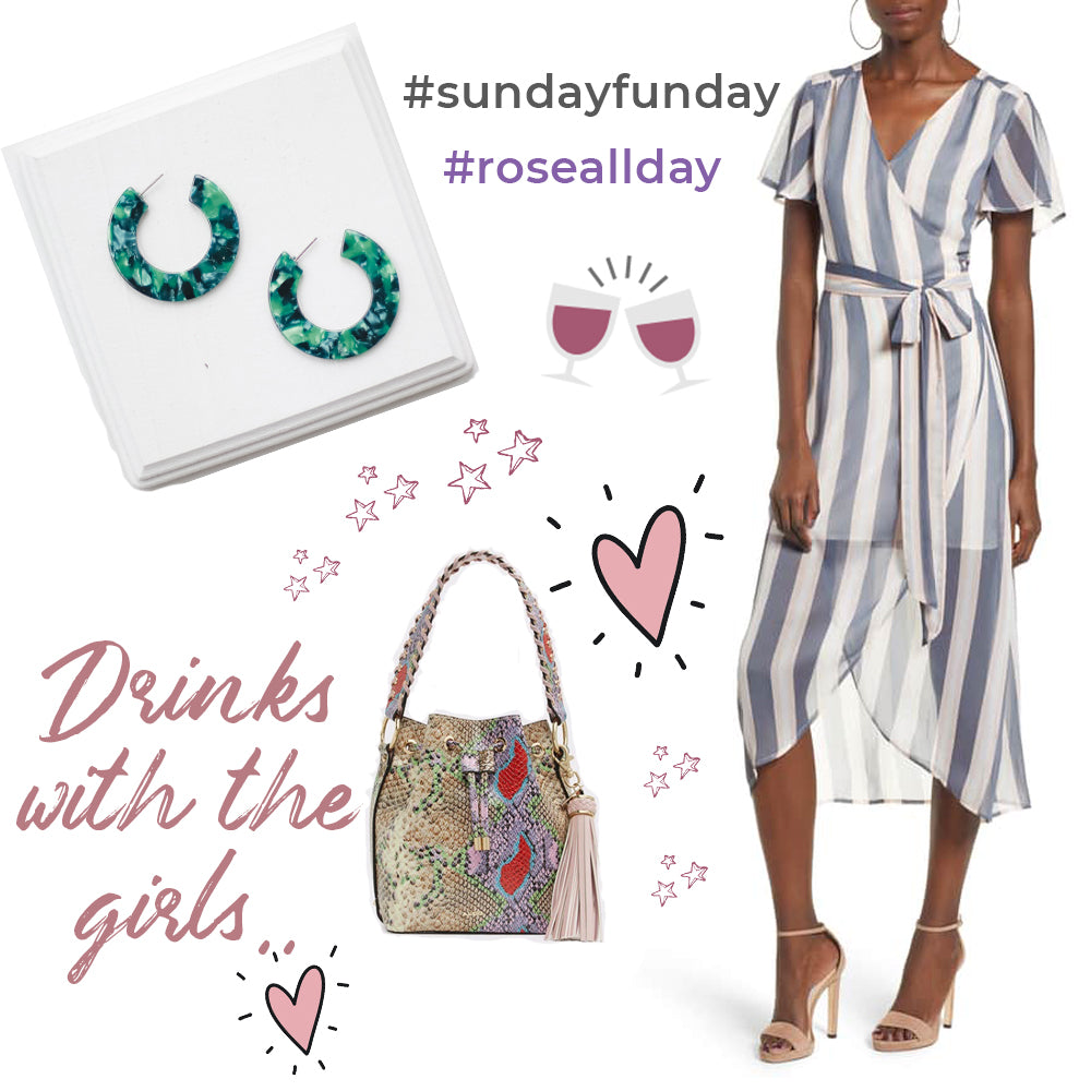 drink-with-girls-outfit-of-the-day-wrap-dress-bucket-bag-tortoise-hoops-blog-post-earrings-and-stuff