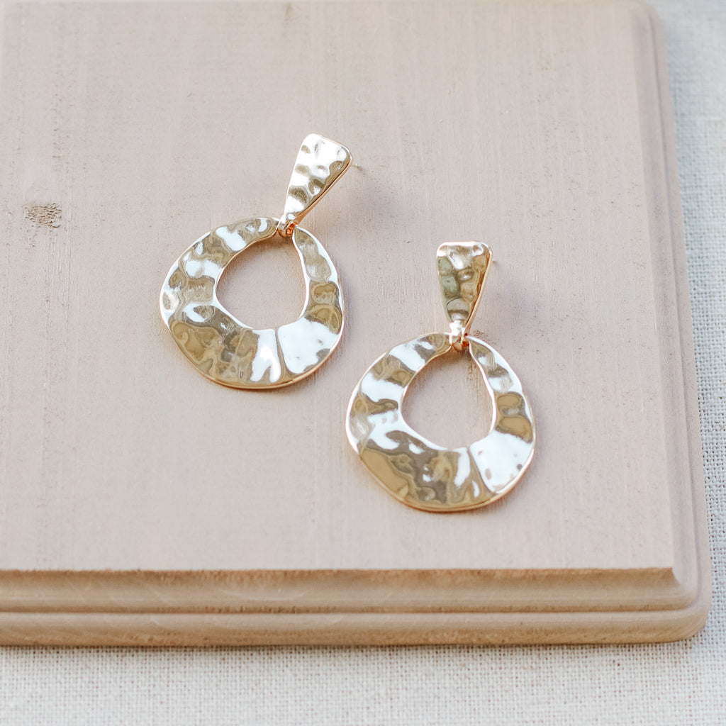 Earrings for Women Gold Color Hand-Hammered Drop Earring Oval Earrings Statement Bohemia Jewelry