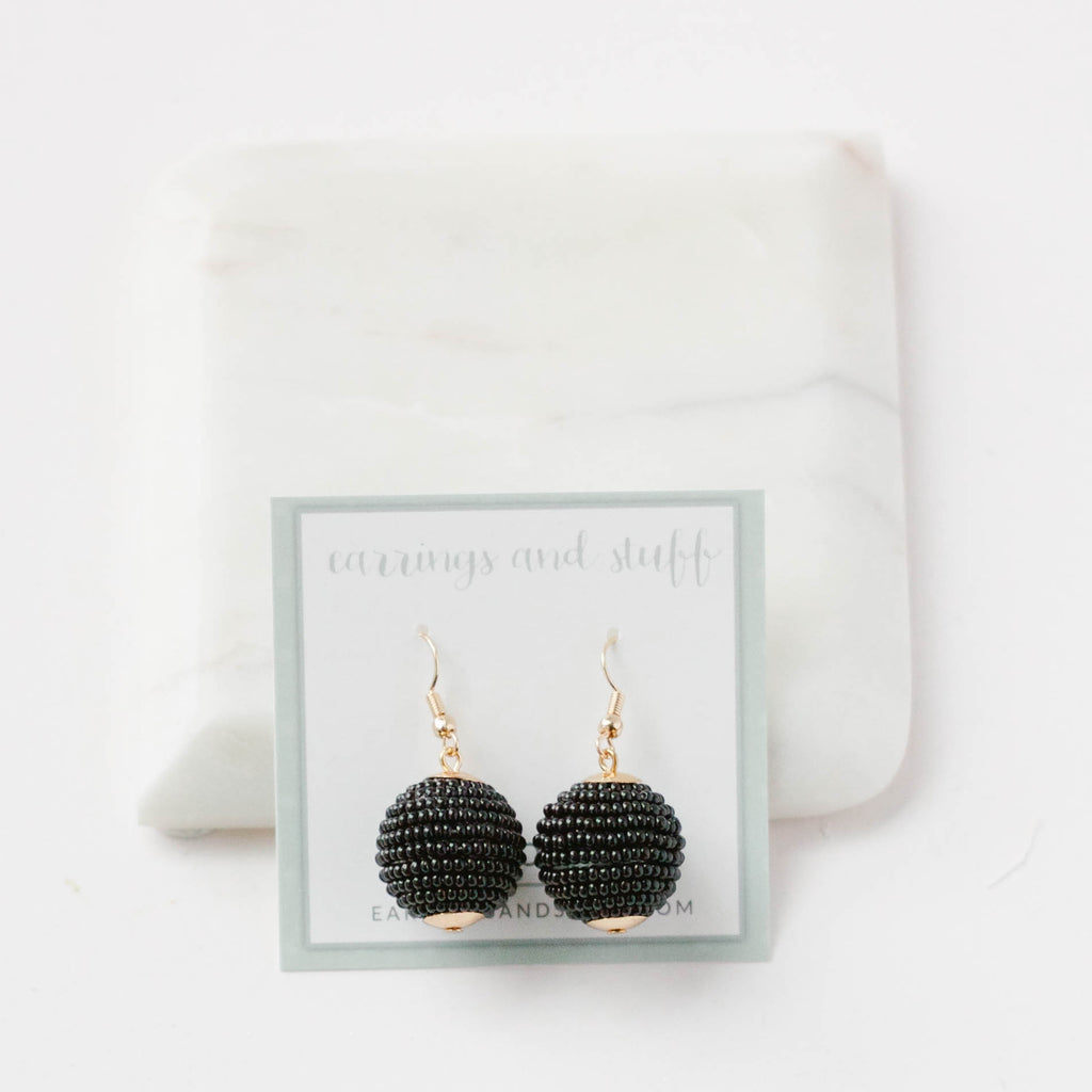 Cindy Pom black beaded earring