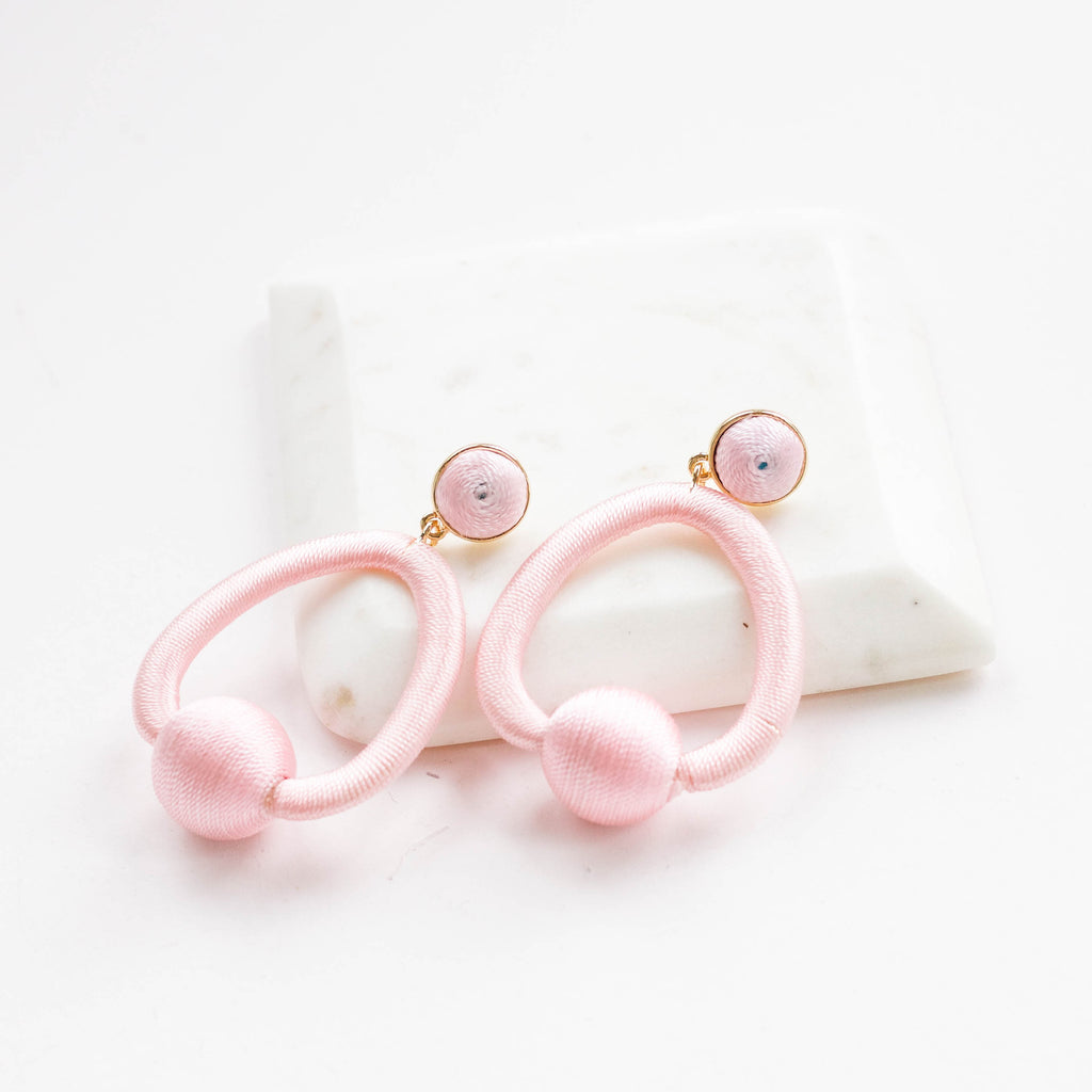 statement pink cotton hoop earrings spring summer 2018 earrings and stuff