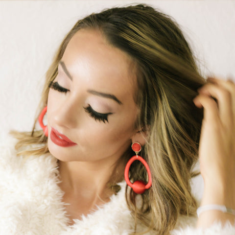 statement red cotton hoop earrings spring summer 2018 earrings and stuff