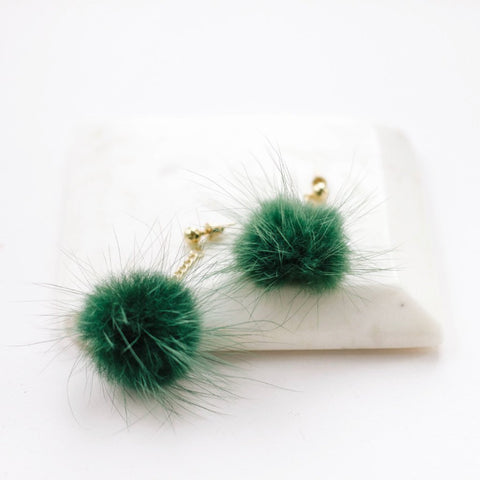 spring summer 2018 earrings and stuff  faux fur forest green earrings
