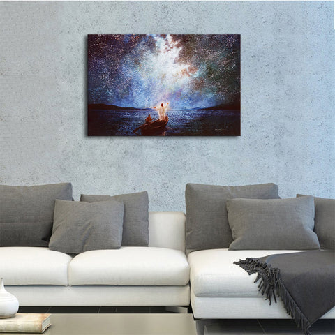 Canvas Wall Art | Jesus Christ Calm and Stars Canvas Prints Framed | Calms My Stormy Sea