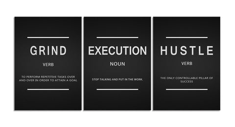 Grind Verb Hustle Verb Execution Noun Motivational Wall Art Canvas Print Office Decor Inspiring Framed Prints Inspirational Quotes for Wall Art Decoration Ready to Hang 3 Panels