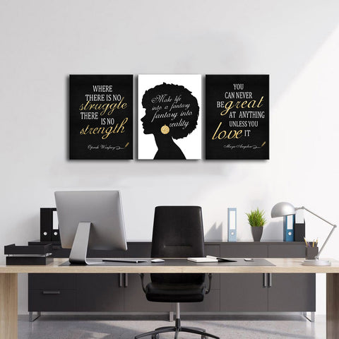 Canvas Wall Art   African American Woman with Inspirational Quote Framed 3 Panels