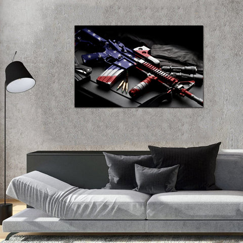 Canvas Wall Art | American Flag Painted Rifle Canvas Painting