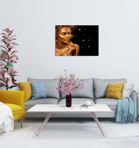 Canvas Wall Art | Black & Golden Woman Canvas Prints Series-05