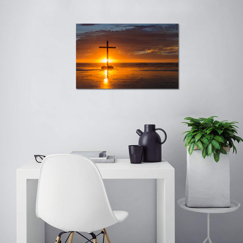 Canvas Wall Art | Red Christian Cross Canvas Prints Framed Ready to Hang