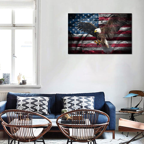 Canvas Wall Art | Retro Eagle & American Flag  Canvas Prints Framed Ready to Hang