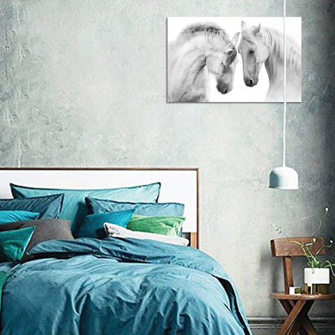 Canvas Wall Art | Black&White horses Canvas Print Framed Ready to Hang