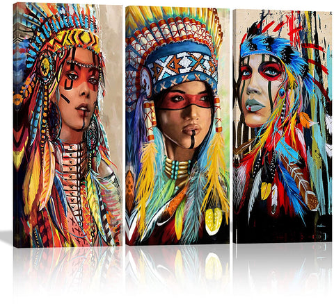 Canvas Wall Art | Native American Indian Girl Canvas Painting 3 Panels