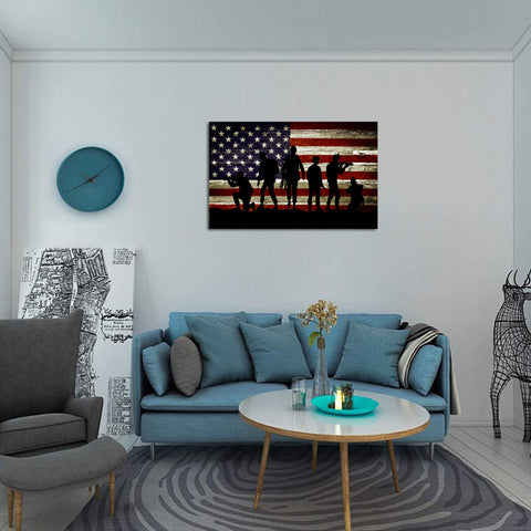 Canvas Wall Art | Vintage Soldiers & American Flag Canvas Prints Framed Ready to Hang