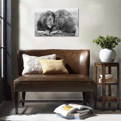 Canvas Wall Art | Black&White Lions Canvas Prints Framed Ready to Hang