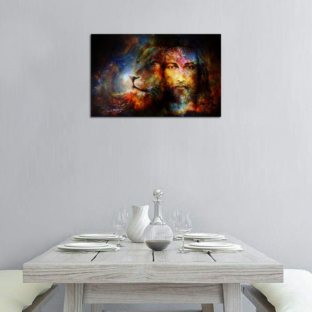 Canvas Wall Art | Jesus & Lion Abstract Canvas Prints Framed Ready to Hang