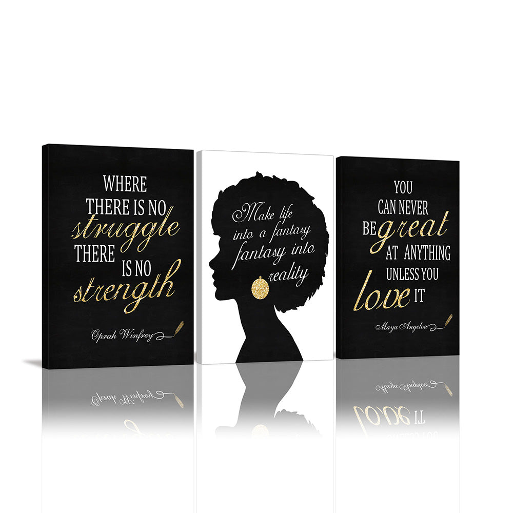 Canvas Wall Art | African American Woman with Inspirational Quote Framed 3 Panels