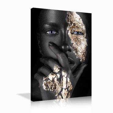 Canvas Wall Art | Black & Golden Woman Art Canvas Prints