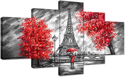 Canvas Wall Art | Red Umbrella Couple & Eiffel Tower Paris Canvas Painting 5 Panels